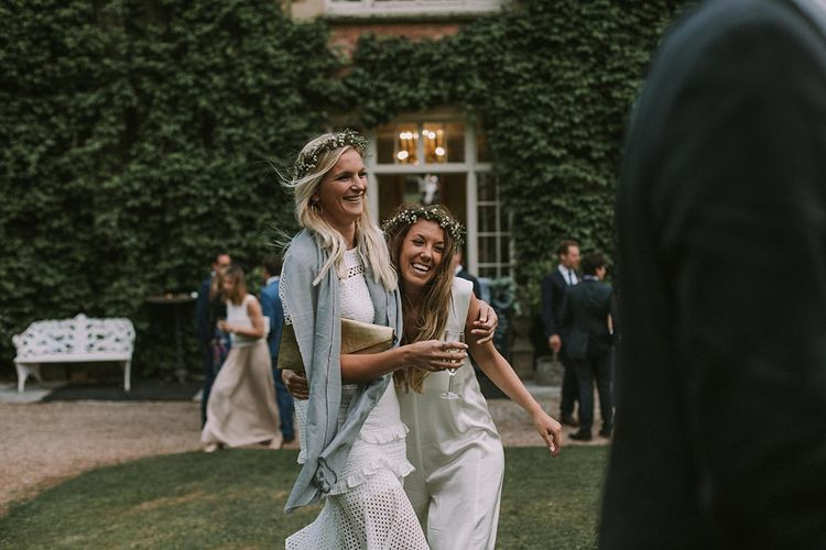 Bridesmaids in Different White Dresses | Blue & White Outdoor Summer Wedding at Maunsel House, Somerset | Maureen Du Preez Photography
