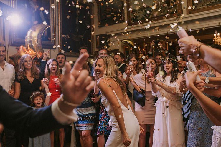 Confetti Bomb Dance Floor | Blue & White Outdoor Summer Wedding at Maunsel House, Somerset | Maureen Du Preez Photography