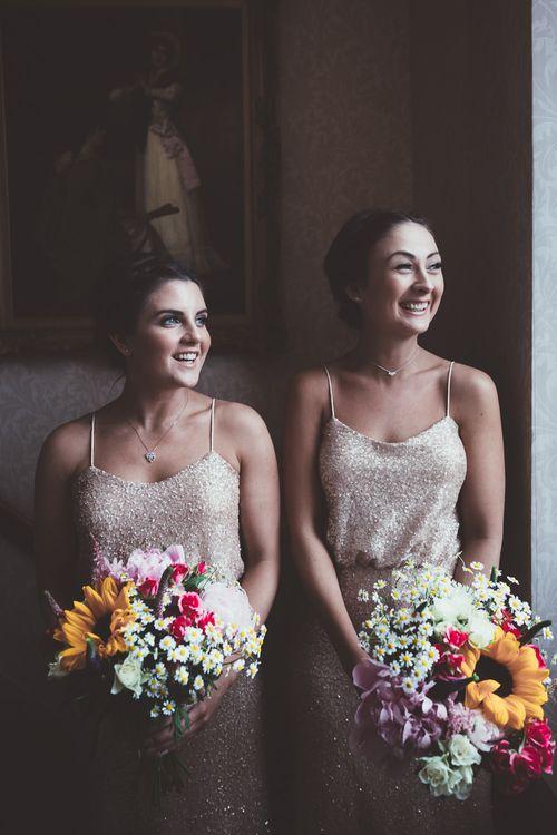 Bridesmaids in Gold Sequin Sorella Vita Bridesmaid Gowns