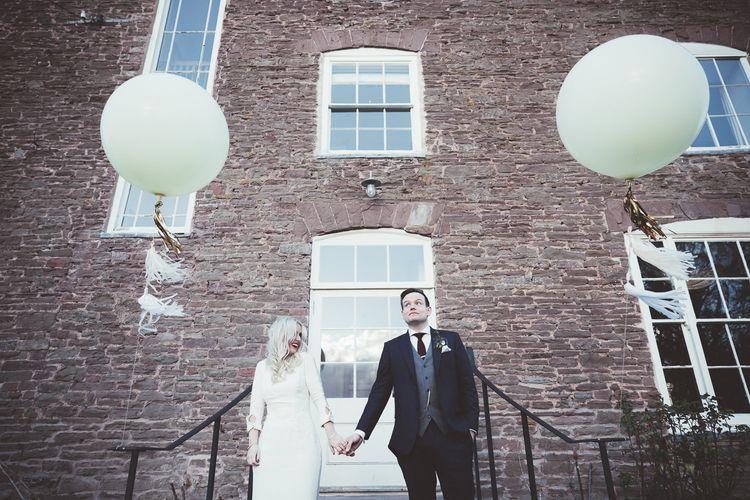 Bride & Groom Giant Balloons Portrait