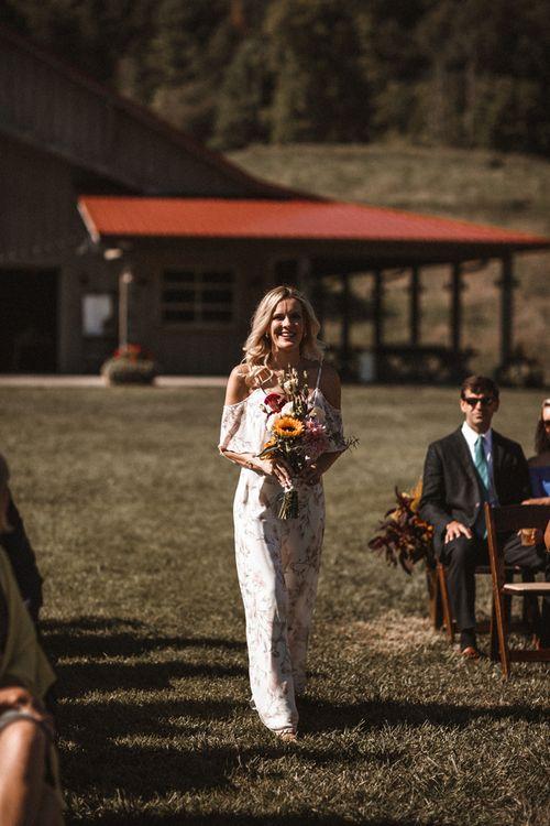 Bridesmaid Entrance | Outdoor Wedding at Claxton Farm in Weaverville, North Carolina | Benjamin Wheeler Photography