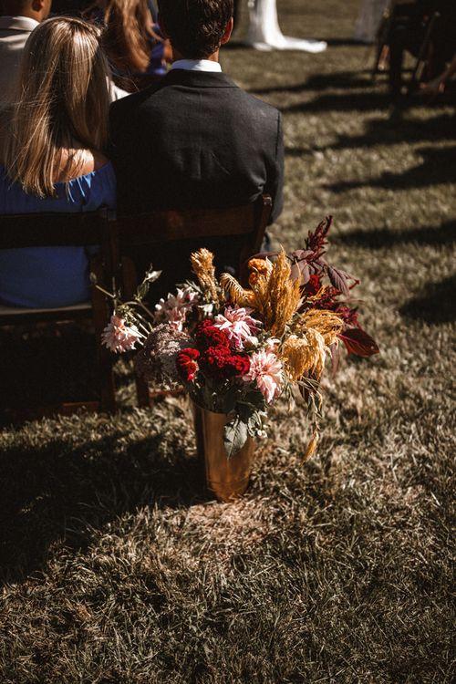 Wild Flower Aisle Decor | Outdoor Wedding at Claxton Farm in Weaverville, North Carolina | Benjamin Wheeler Photography