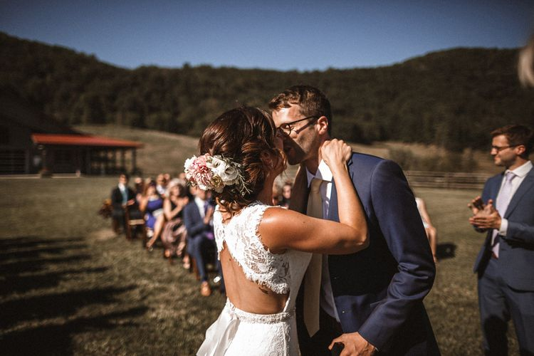 Ceremony | Bride in Venus Bridal Gown | Groom in Ted Baker Suit | Outdoor Wedding at Claxton Farm in Weaverville, North Carolina | Benjamin Wheeler Photography