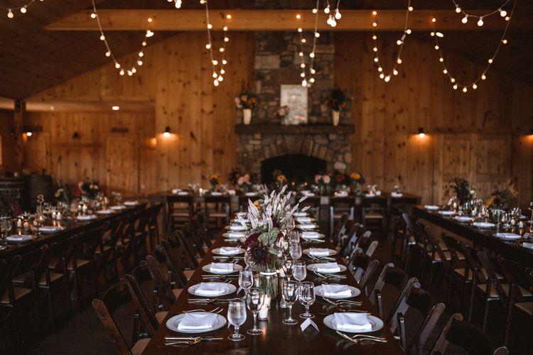 Wedding Reception Decor | Festoon Lights | Outdoor Wedding at Claxton Farm in Weaverville, North Carolina | Benjamin Wheeler Photography
