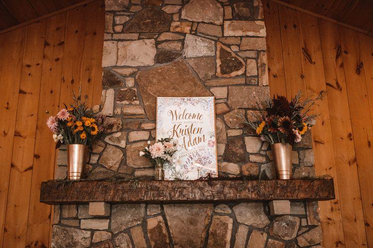 Fireplace Wedding Decor | Outdoor Wedding at Claxton Farm in Weaverville, North Carolina | Benjamin Wheeler Photography