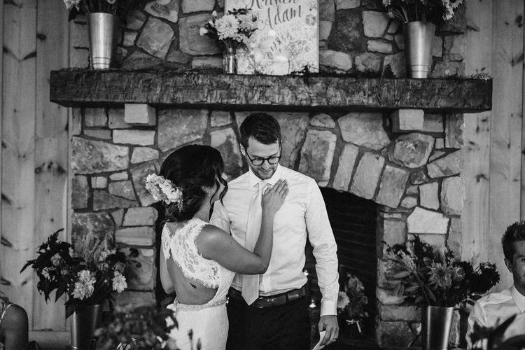 Speeches | Bride in Lace Venus Bridal Gown | Groom in Ted Baker Suit | Outdoor Wedding at Claxton Farm in Weaverville, North Carolina | Benjamin Wheeler Photography