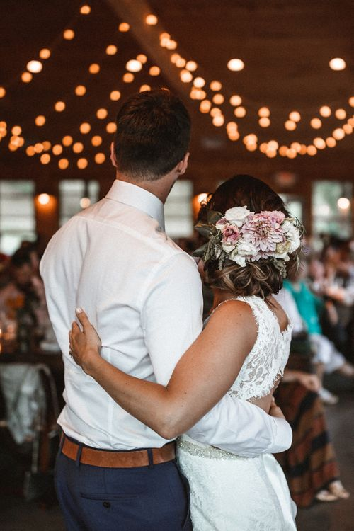 First Dance | Festoon Lights | Bride in Lace Venus Bridal Gown | Groom in Ted Baker Suit | Outdoor Wedding at Claxton Farm in Weaverville, North Carolina | Benjamin Wheeler Photography