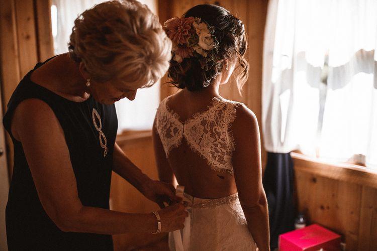 Bride in Venus Bridals Lace Gown | Outdoor Wedding at Claxton Farm in Weaverville, North Carolina | Benjamin Wheeler Photography