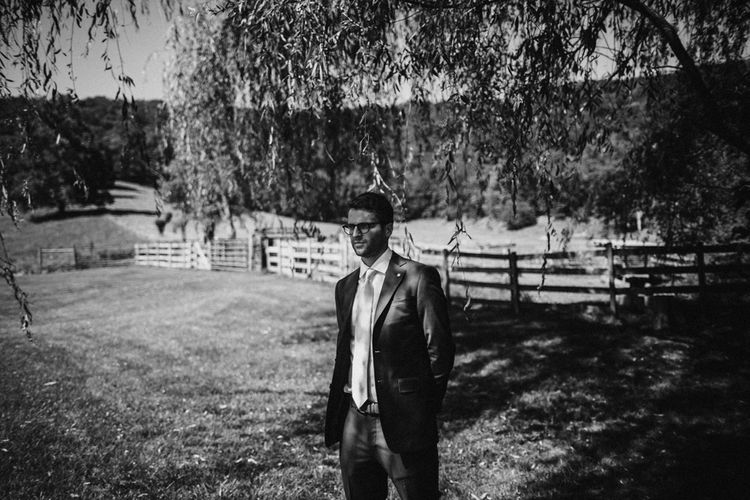 Groom in Ted Baker Suit | Outdoor Wedding at Claxton Farm in Weaverville, North Carolina | Benjamin Wheeler Photography
