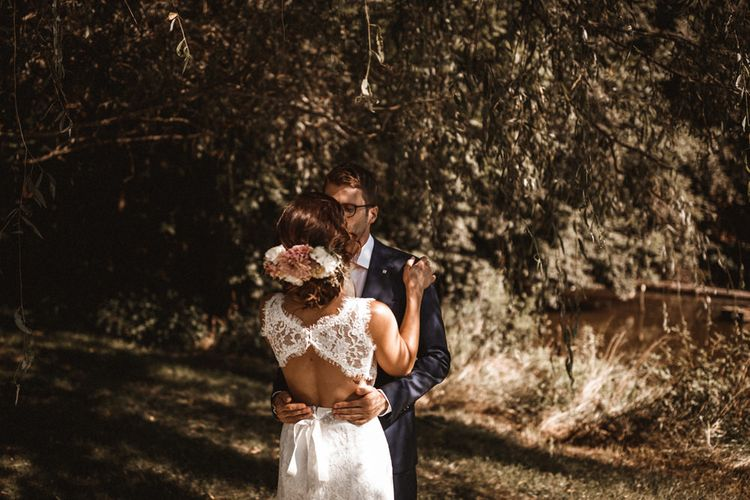 First Look | Bride in Lace Venus Bridal Gown | Groom in Ted Baker Suit | Outdoor Wedding at Claxton Farm in Weaverville, North Carolina | Benjamin Wheeler Photography