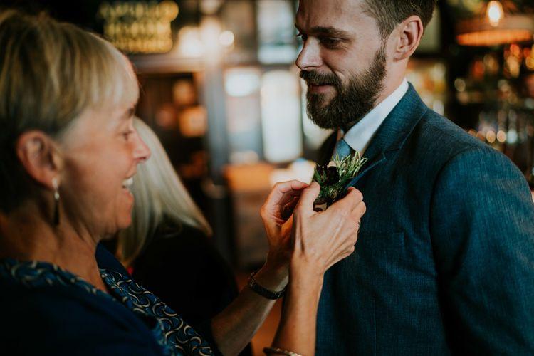 Buttonhole | Contemporary Wedding at the Artisan Bar Clerkenwell, London | Bridgwood Wedding Photography | Long Story Short Film