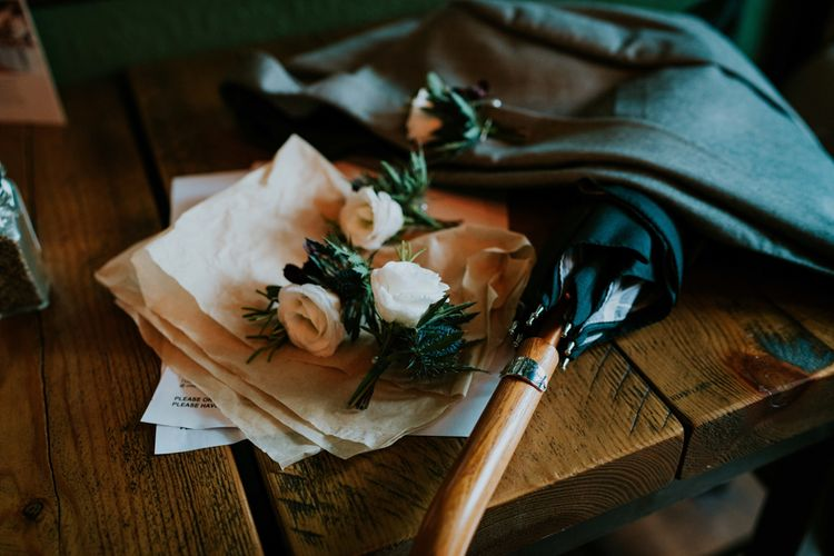 White Rose & Thistle Buttonholes | Contemporary Wedding at the Artisan Bar Clerkenwell, London | Bridgwood Wedding Photography | Long Story Short Film