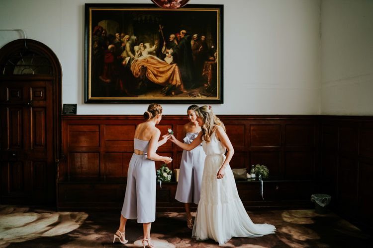Bride in Bespoke Soon Bride Gown | Bridesmaids in Powder Blue Topshop Jumpsuits | Contemporary Wedding at the Artisan Bar Clerkenwell, London | Bridgwood Wedding Photography | Long Story Short Film