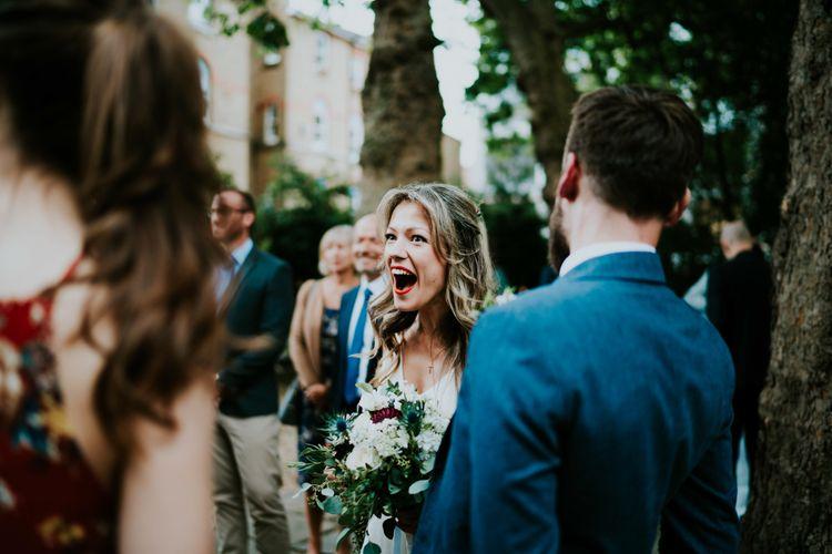 Bride in Bespoke Soon Bride Gown | Contemporary Wedding at the Artisan Bar Clerkenwell, London | Bridgwood Wedding Photography | Long Story Short Film