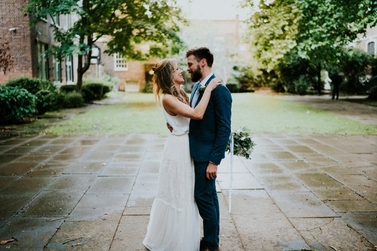 Bride in Bespoke Soon Bride Gown | Groom in Whisles Pale Blue Suit | Contemporary Wedding at the Artisan Bar Clerkenwell, London | Bridgwood Wedding Photography | Long Story Short Film