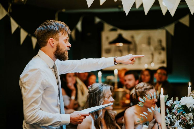 Grooms Speech | Contemporary Wedding at the Artisan Bar Clerkenwell, London | Bridgwood Wedding Photography | Long Story Short Film
