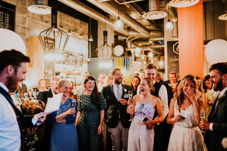 Speeches | Bride in Bespoke Soon Bride Gown | Groom in Whisles Pale Blue Suit | Contemporary Wedding at the Artisan Bar Clerkenwell, London | Bridgwood Wedding Photography | Long Story Short Film