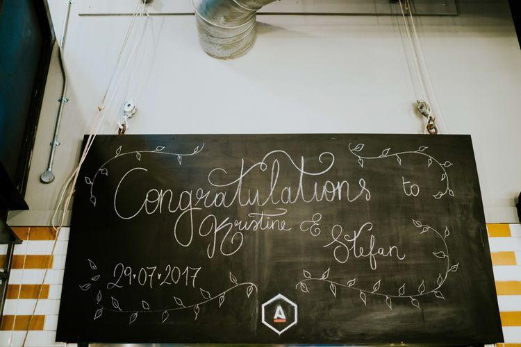 Chalkboard Wedding Sign | Contemporary Wedding at the Artisan Bar Clerkenwell, London | Bridgwood Wedding Photography | Long Story Short Film