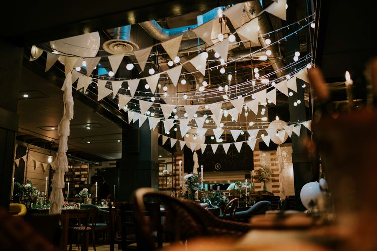 White Bunting Wedding Decor | Contemporary Wedding at the Artisan Bar Clerkenwell, London | Bridgwood Wedding Photography | Long Story Short Film