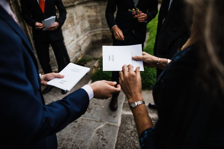 Beautiful typographic Order of Service for Wedding Ceremony Image by Through the Woods We Ran.