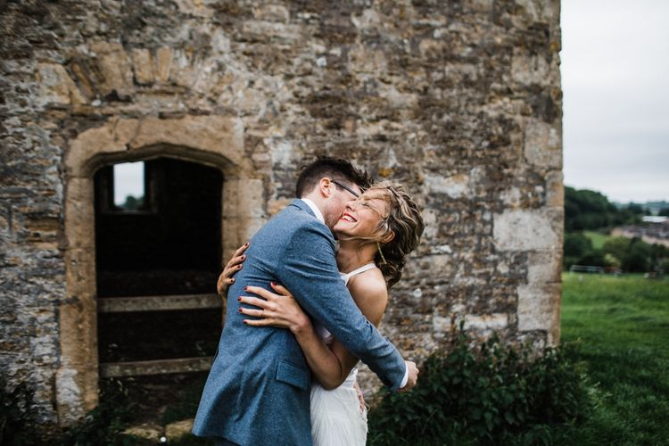 Couple photo shoot in The Cotswolds after wedding. Image by Through the Woods We Ran.