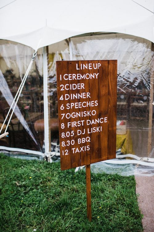 Great wedding reception signage. Image by Through the Woods We Ran.