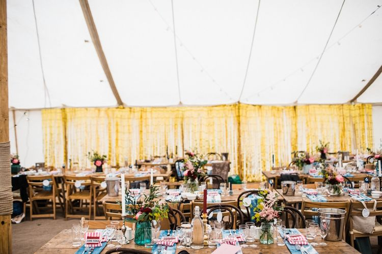 Marquee, chair and table hire from Southwest Marquees and Vintage Marquees Ltd. Image by Through the Woods We Ran.