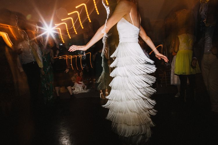 Spectacular bridal skirt by Charlie Brears. Image by Through the Woods We Ran.