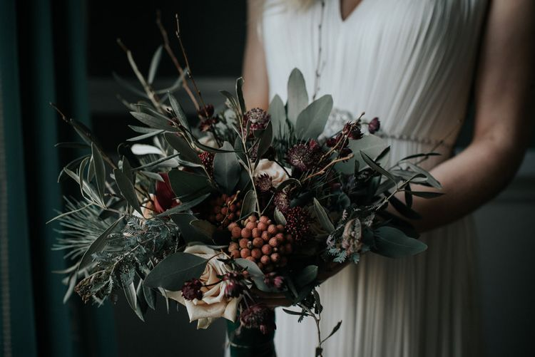 Winter Wedding Bouquet With Berries & Foliage