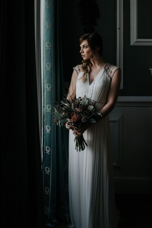 Tallulah by Catherine Deane in Oyster with an Opal Beaded Back