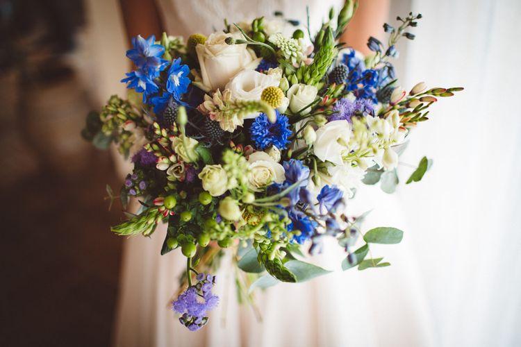 Blue & White Bridal Bouquet | Outdoor Wedding at Borgo Bastia Creti in Italy | Paolo Ceritano Photography