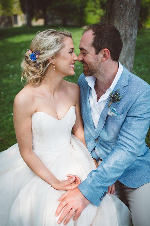 Bride in Lyn Ashworth Wedding Dress | Groom in Blue Jacket | Outdoor Wedding at Borgo Bastia Creti in Italy | Paolo Ceritano Photography