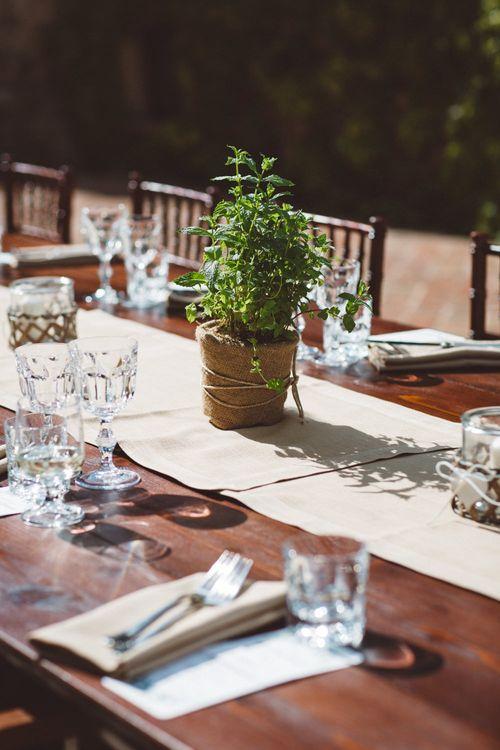 Plant Pot Centrepieces | Reception Tablescape | Outdoor Wedding at Borgo Bastia Creti in Italy | Paolo Ceritano Photography