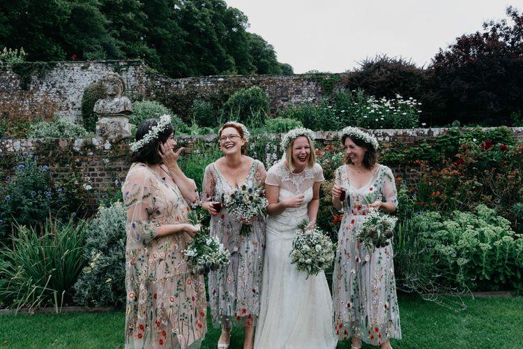 Bridesmaids In Embellished Floral Dresses