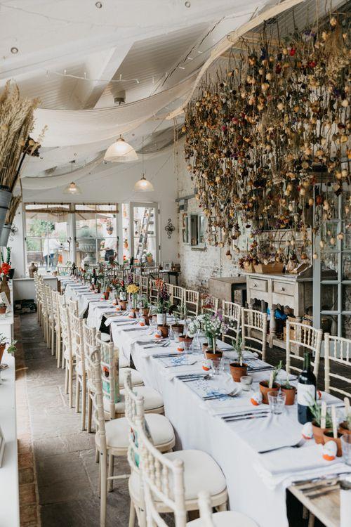 Dried Flower Installation For Wedding