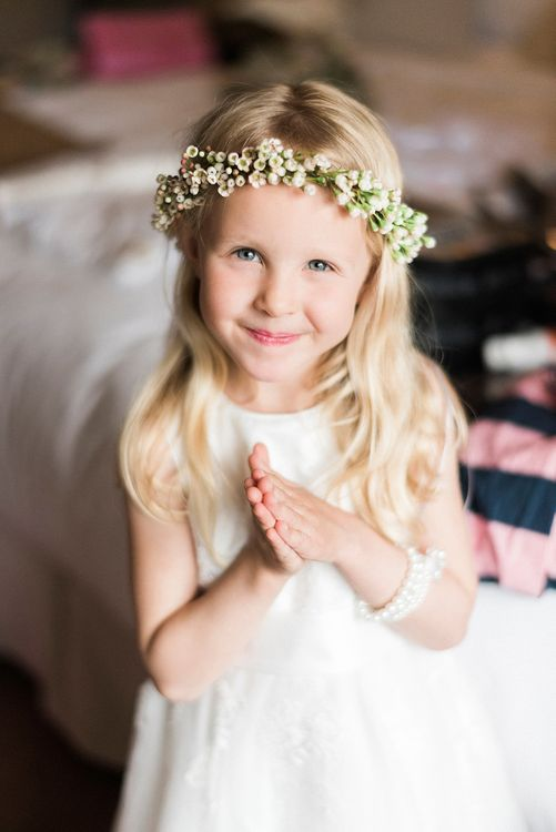 Flower Girl with Flower Crown | Romantic Pastel Wedding at Prested Hall, Essex | Kathryn Hopkins Photography | Sugar Lens Productions