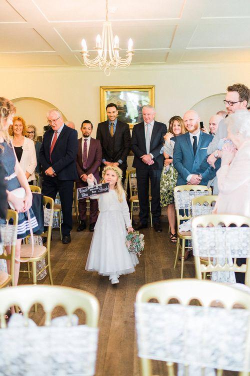 Flower Girl Wedding Ceremony Bridal Entrance | Romantic Pastel Wedding at Prested Hall, Essex | Kathryn Hopkins Photography | Sugar Lens Productions