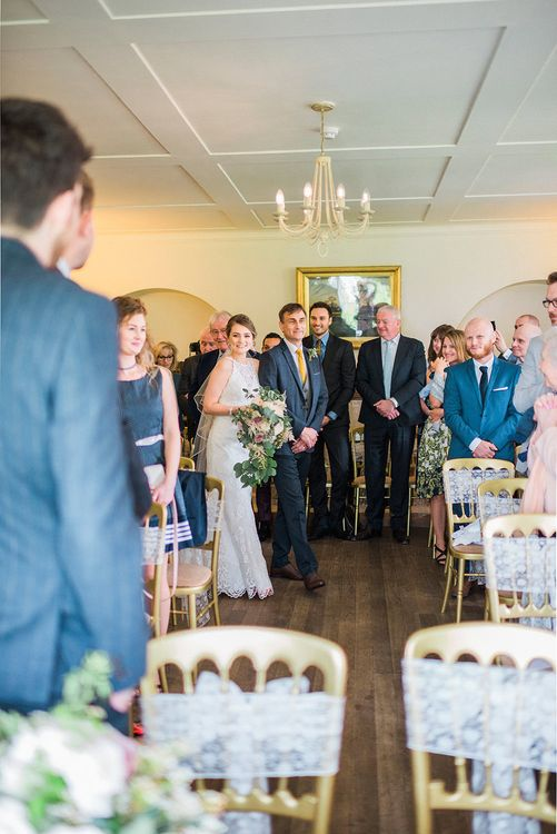 Wedding Ceremony Bridal Entrance in Sottero & Midgley Lace Gown | Romantic Pastel Wedding at Prested Hall, Essex | Kathryn Hopkins Photography | Sugar Lens Productions