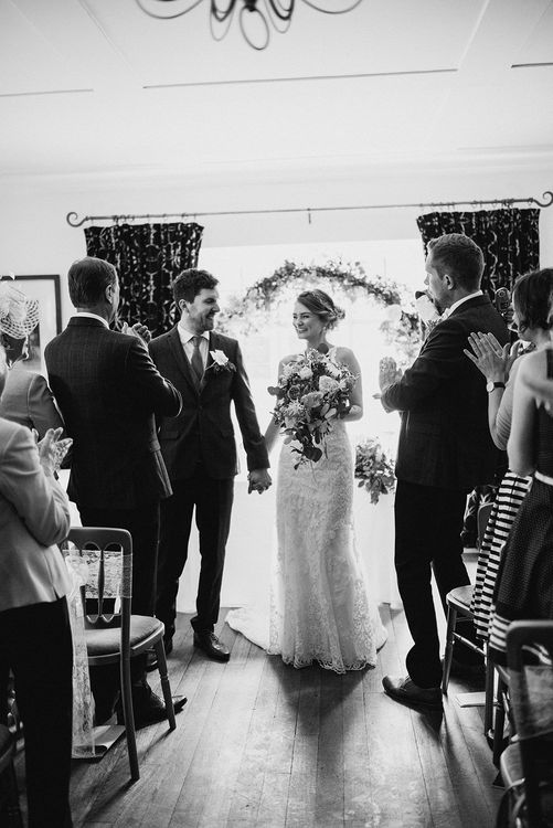 Wedding Ceremony | Bride in Sottero & Midgley Gown | Groom in Moss Bros Suit | Romantic Pastel Wedding at Prested Hall, Essex | Kathryn Hopkins Photography | Sugar Lens Productions
