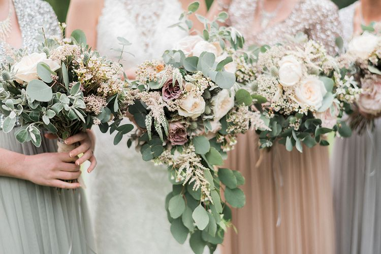 Organic Bridal Bouquets | Romantic Pastel Wedding at Prested Hall, Essex | Kathryn Hopkins Photography | Sugar Lens Productions