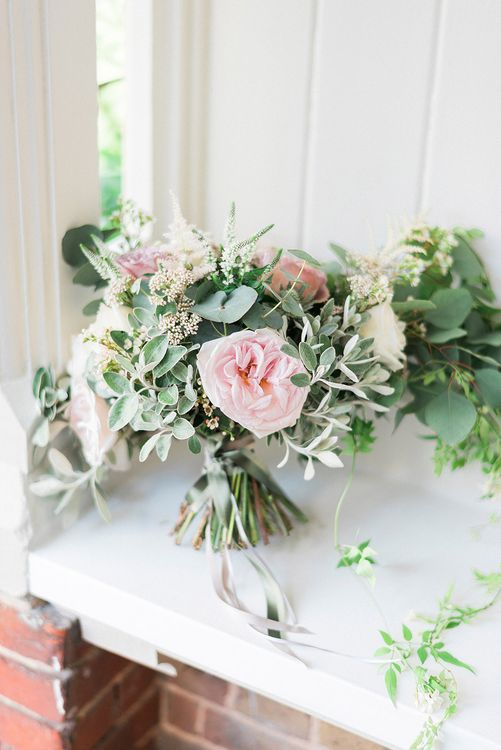 Pink Rose Bridal Bouquet | Romantic Pastel Wedding at Prested Hall, Essex | Kathryn Hopkins Photography | Sugar Lens Productions
