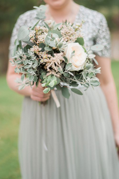 Bouquet | Bridesmaid in Green Sequin & Tulle Maya Dress from ASOS | Romantic Pastel Wedding at Prested Hall, Essex | Kathryn Hopkins Photography | Sugar Lens Productions