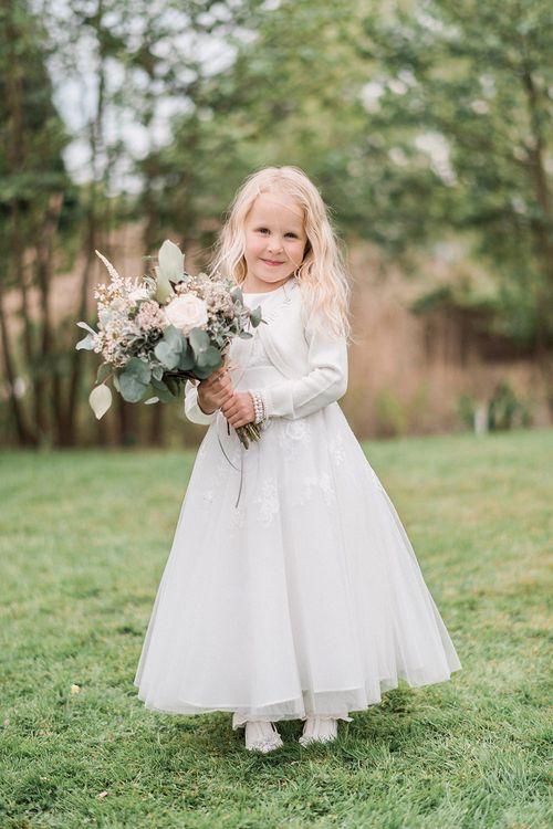 Flower Girl in Debenhams Dress | Romantic Pastel Wedding at Prested Hall, Essex | Kathryn Hopkins Photography | Sugar Lens Productions