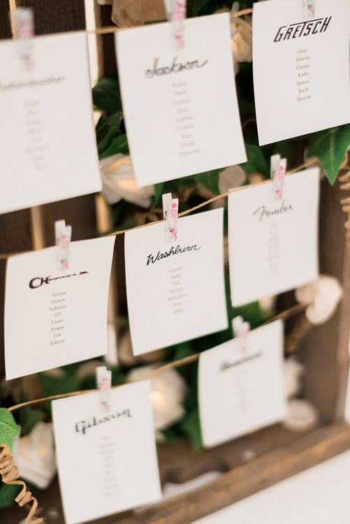 Rustic Crate Table Plan | Lantern Filled Marquee Reception | Romantic Pastel Wedding at Prested Hall, Essex | Kathryn Hopkins Photography | Sugar Lens Productions