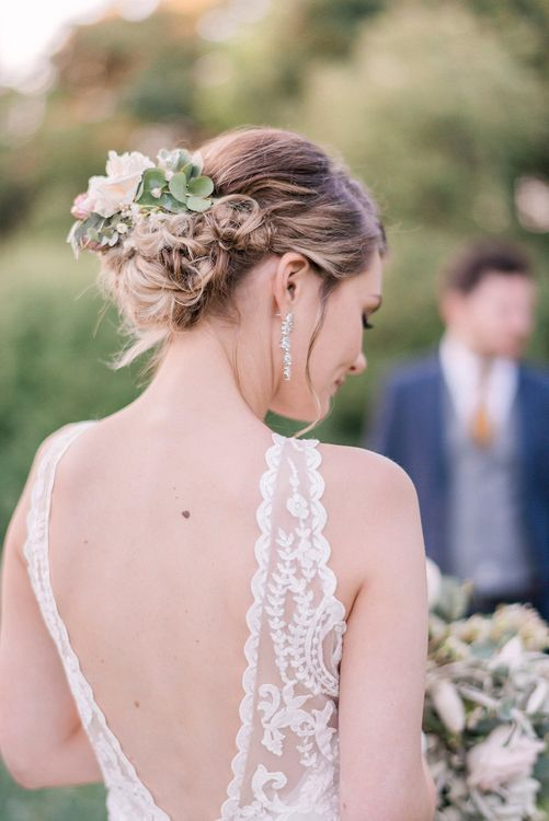 Bridal Up Do with Flowers | Sottero & Midgley Gown | Romantic Pastel Wedding at Prested Hall, Essex | Kathryn Hopkins Photography | Sugar Lens Productions