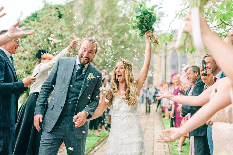 Confetti Exit | Bride in Yolan Cris Wedding Dress from Miss Bush Bridal | Matt Ethan Photography | In House Films