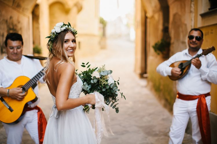Bride in Watters Wedding Dress | Floral Crown | Peach Bouquet | Chris Barber Photography
