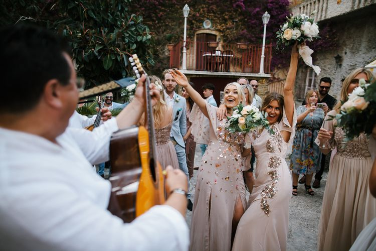 Bridesmaids in Blush Embellished Gowns | Chris Barber Photography