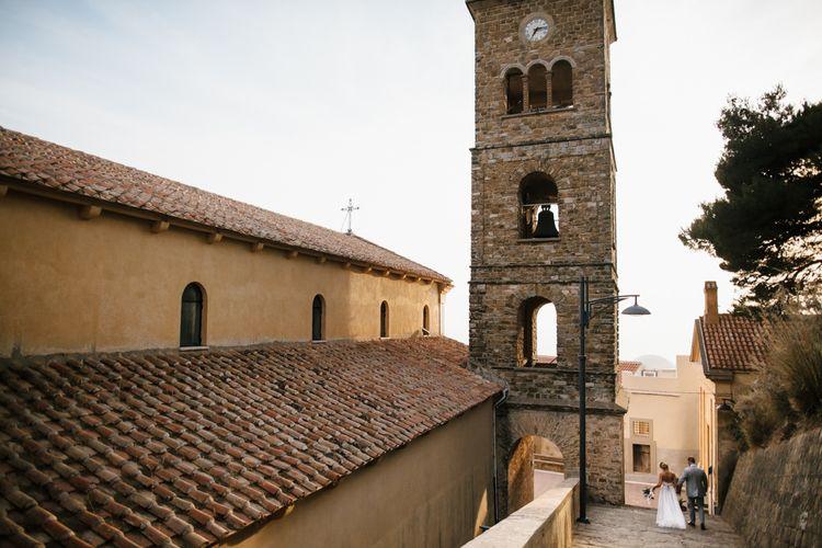 Bride in Watters Gown | Groom in Grey Reiss Suit | Italian Destination Wedding | Chris Barber Photography