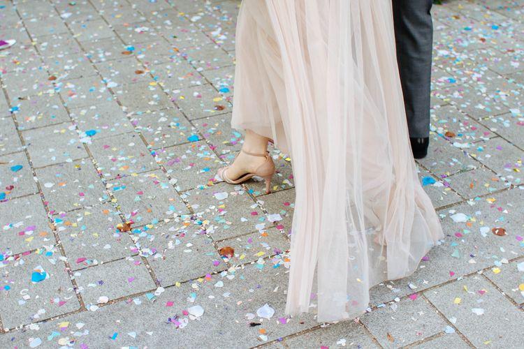 Bride In Blush Pink Needle & Thread Wedding Dress